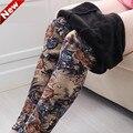 Зима толстые Теплые леггинсы женщины плюс размер Печати Цветочные леггинсы бархатные леггинсы брюки большого размера Брюки мама теплые ЛЕГГИНСЫ