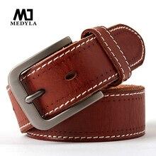 MEDYLA original leder herren gürtel retro casual design jeans gürtel für männer der marke designer gürtel hohe metall pin schnalle Dropship