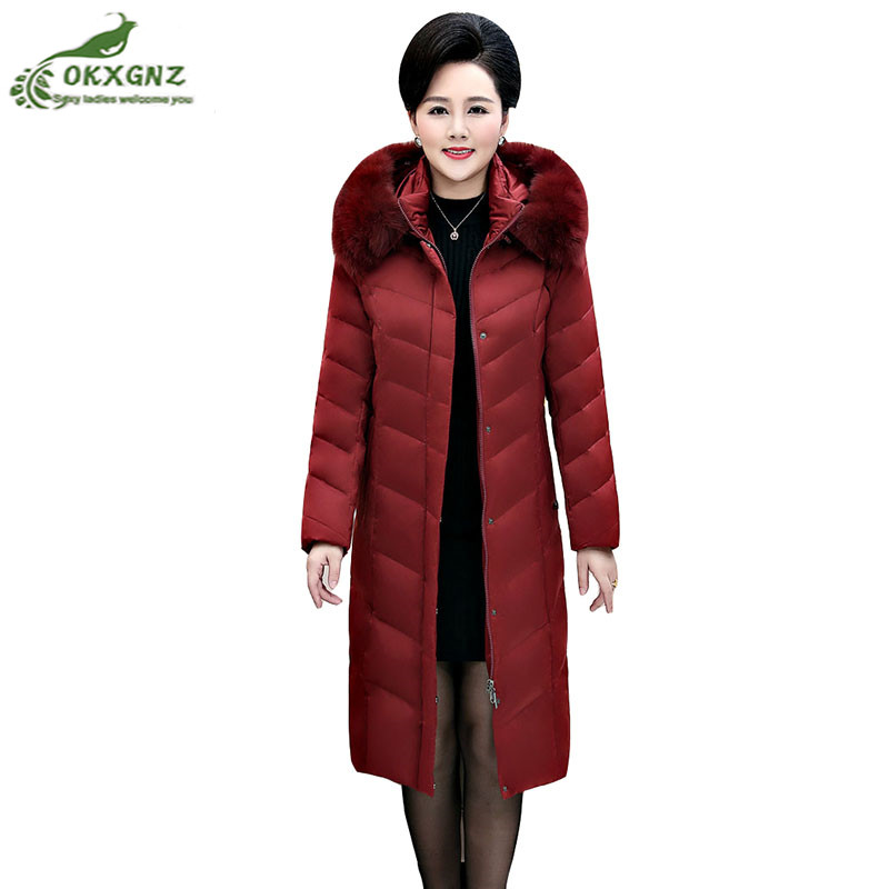 Winter new middle-aged down Outerwear female middle-length fox fur collar jacket coat women large-size thicken warm coat OKXGNZ 2018 high grade middle aged down fox fur collar winter jacket hooded coats large size thick warm parkas women long outerwear 6xl
