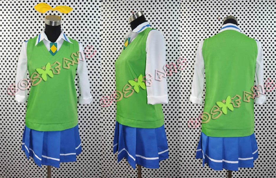 Free shipping Custom Cheap Green Cure March Uniform from Smile PreCure Cosplay Costume