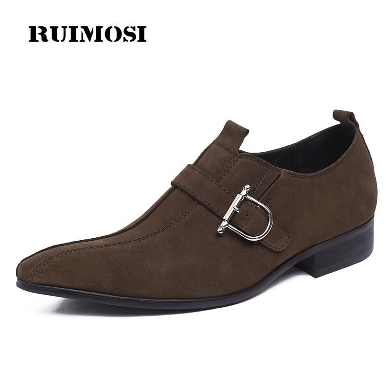 RUIMOSI Elegant Pointed Suede Man Formal Dress Shoes Genuine Leather Male Oxfords Luxury Brand Men's Wedding Bridal Flats GK26