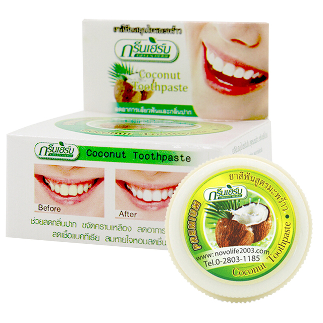 Thailand Kelapa Pasta Gigi Herbal Pemutih Gigi Perawatan Gigi Pasta
