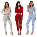 Womens Long Sleeve Bodycon 2pcs Sets Hooded Crop Top+Pants Casual Outfits
