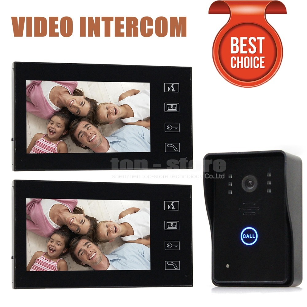 DIYSECUR 7 inch Color LCD Touch Key Wired Video Door Phone Doorbell Intercom System Ir Camera 2 Monitor 1 Camera SY806MJ12 1 camera 3 monitor wireless video door phone doorbell intercom with touch key camera ir rainproof home video intercom system 1v3