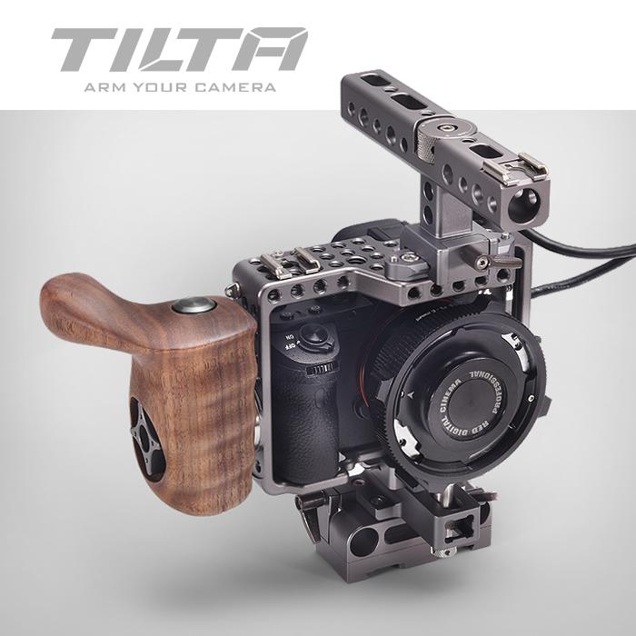 Prix pour Tilta Alpha 7 Cage A7S A7S2 A7R A7R2 Rig Cage + Embase + Manche en bois + Top Poignée Pour SONY A7 série caméra Film tir