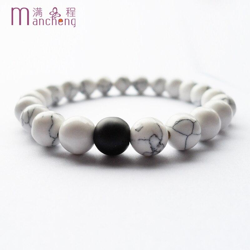 Natural White tur-quoise Black agates matte scrub Couples Distance bracelet,Round white tur-quoise Couples bracelet Men Women