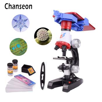 Zestaw mikroskopu Lab z uchwytem na telefon LED School Science zabawka edukacyjna prezent rafinowany mikroskop biologiczny na prezenty dla dzieci tanie i dobre opinie 1413X PORTABLE Wysokiej Rozdzielczości Handheld Chanseon 500X-1500X Monokularowy Z tworzywa sztucznego