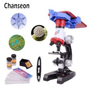 Image 1 - Zestaw mikroskopu Lab z uchwytem na telefon LED School Science zabawka edukacyjna prezent rafinowany mikroskop biologiczny na prezenty dla dzieci