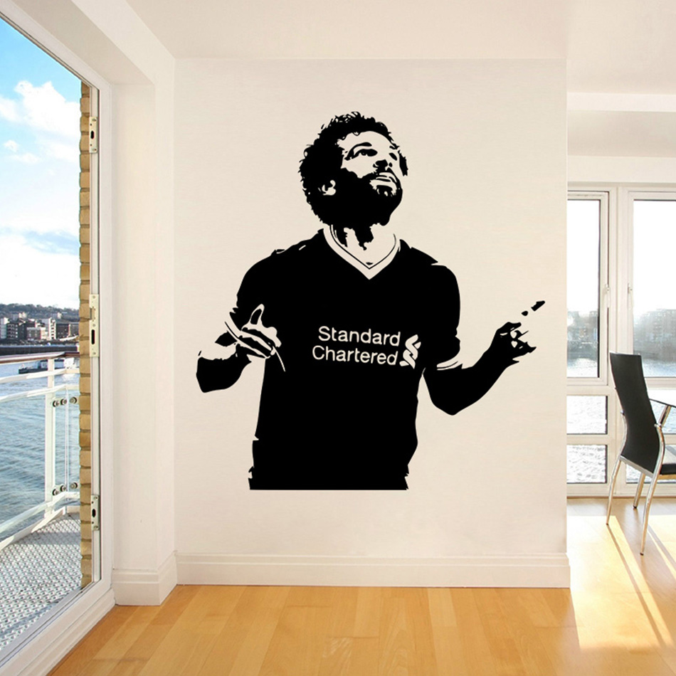 Mohamed salah wall stickers kids room decoration liverpool soccer wall d vinyl mural home decor bedroom art poster w349 in wall stickers from home garden