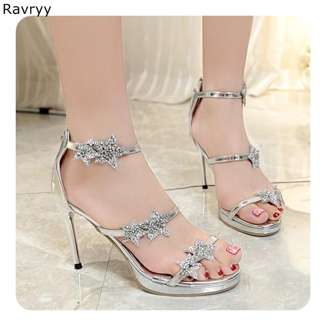 Cristal Chaussures D'été Femme argent sandales bling bling étoile à cinq branches strass décor Sexy Pompes femme chaussures de robe de partie