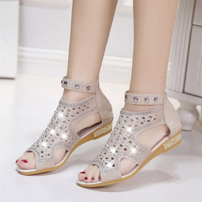 2018 New Arrival Spring Summer Ladies Women Wedge Sandals Fashion Fish Mouth Hollow Roma Shoes round toe Crystal Platform Shoes 2018 new summer women genuine leather sandals fish mouth high heeled waterproof platform mesh hollow fashion sandals shoes women