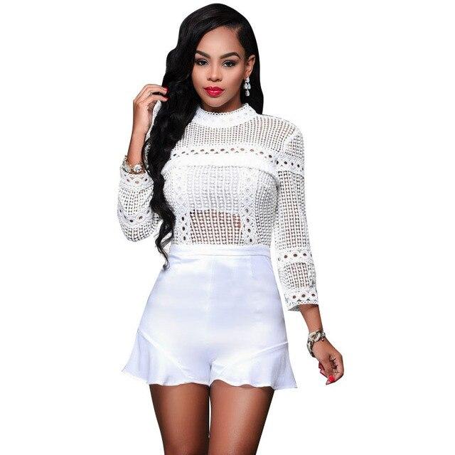 f5ba7220558 Sexy Turtleneck Lace Playsuit 2017 Summer Women Bodysuit Vintage Long  Sleeve Short Overalls Rompers Women White Jumpsuit C2760
