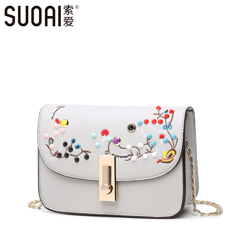 SUOAI Womens Flap Fashion Lock Shoulder Bag Chinese Embroidery Crossbody Bags High Quality Female Chain Small Bag Video Show