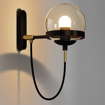 Nordic Retro Restaurant Wall Lamp Postmodern Minimalist Hotel Bedside Industrial Wind Circle Wrought Iron Glass Ball Wall Lamp