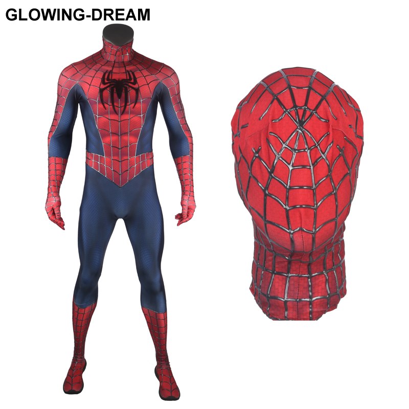 High Quality Relief Cobwebs Spider Man Cosplay Costume Raimi Spider Man Costume With U zipper 3D Webs Raimi Spiderman Suit