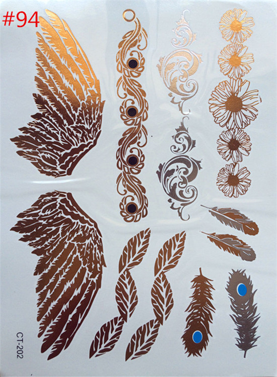 Free shipping temporary tattoo fashion product foil waterproof angel wings tattoo tattoo stickers paste gold bracelet wholesale