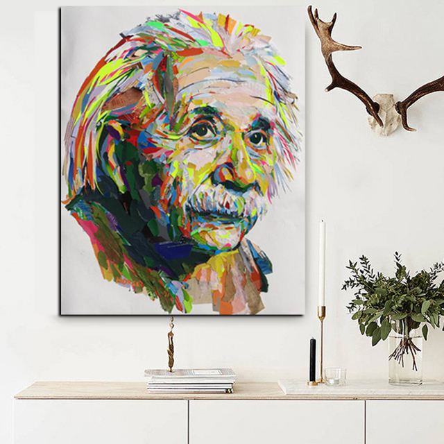 Wall Art Print Plus Hand Painted Abstract Albert Einstein