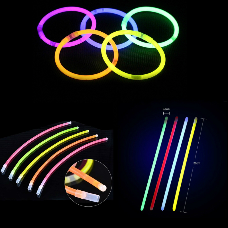 50Pcs/lot Glow Stick Glow Party Supplies Fluorescent Mixed Color Bracelets Necklace Birthday Festive Party Vocal Light Sticks