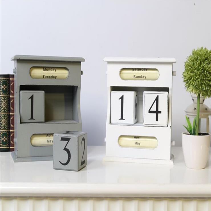 Creative Artisanat En Bois Calendrier Perpétuel Blanc Couleur Vintage Décoration de La Maison Salon Accessoires E701