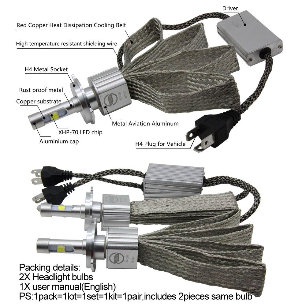 P70 XHP70 Car LED լուսարձակող H4 Hi Lo 55W XHP-70 - Ավտոմեքենայի լույսեր - Լուսանկար 5
