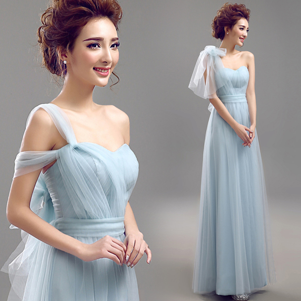 2015 New Bridesmaid Dresses Blue Chiffon Sweetheart With a Shawl ... 132d0894d576