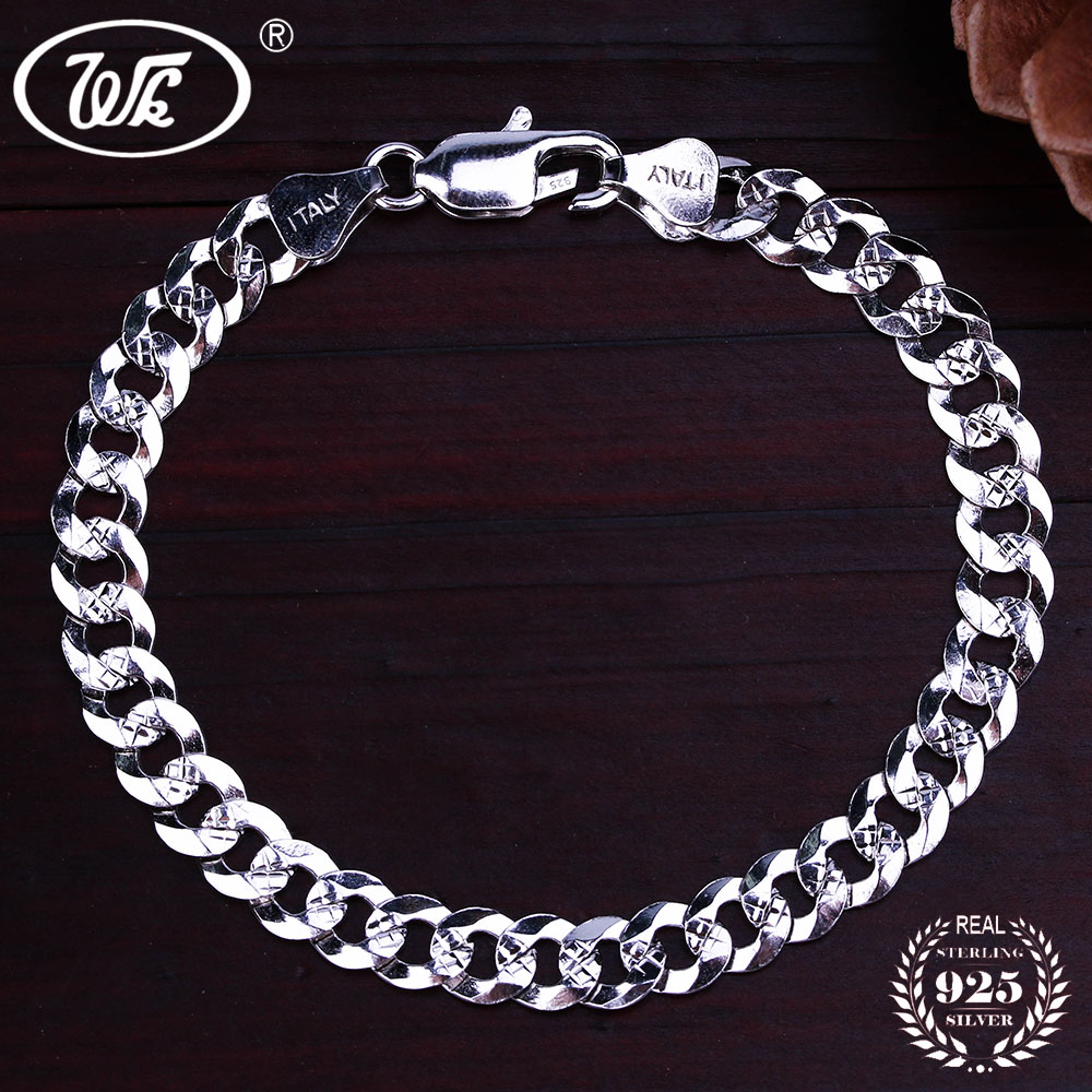 WK Flat 6MM 7MM Genuine 925 Sterling Silver Chain Link - Նուրբ զարդեր - Լուսանկար 2
