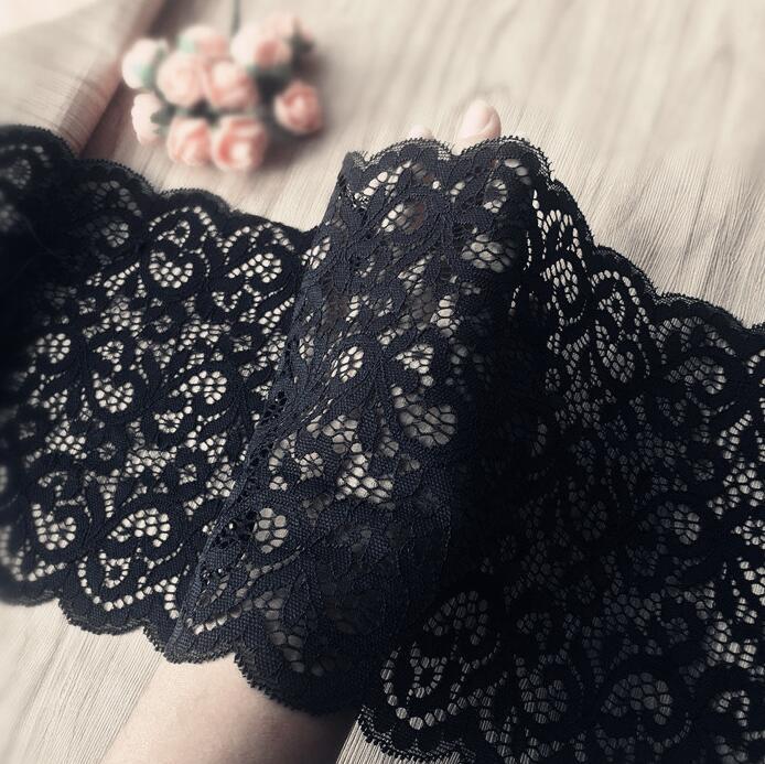 Красивая Черная кружевная сетчатая ткань, ширина 18 см, эластичная фототкань, бесплатная доставка, 1 метр