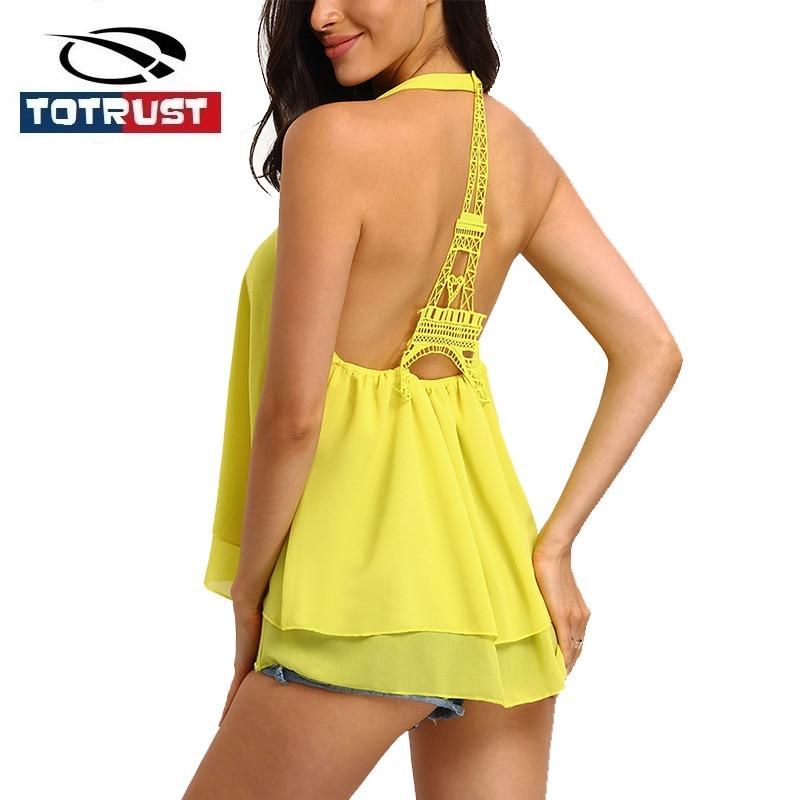 TOTRUST Black Lace Tank Top Women 2017 Summer Sexy Women Sleeveless Halter Neck Camis Vest Crop Top Fitness Beach Bustier Tops