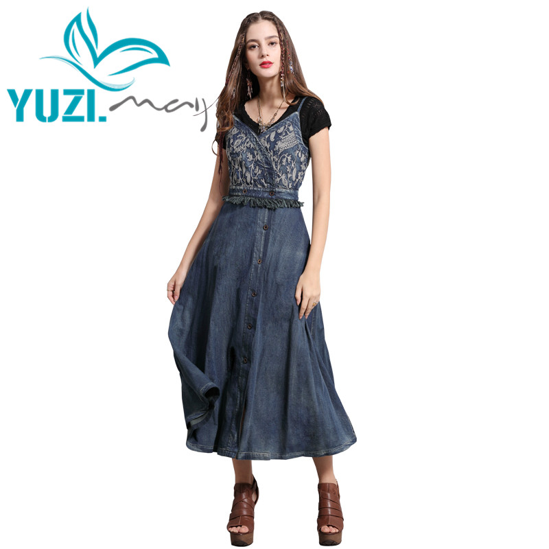Summer Dress 2019 Yuzi may Boho New Denim Women Dresses Strapless High Waist Vintage Embroidery Covered