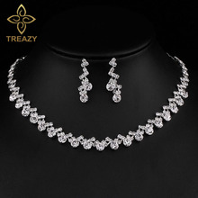 TREAZY Crystal Bridal Jewelry Sets Silver Color Waving Choker Necklace Earrings Sets for Women Wedding African Jewelry Sets