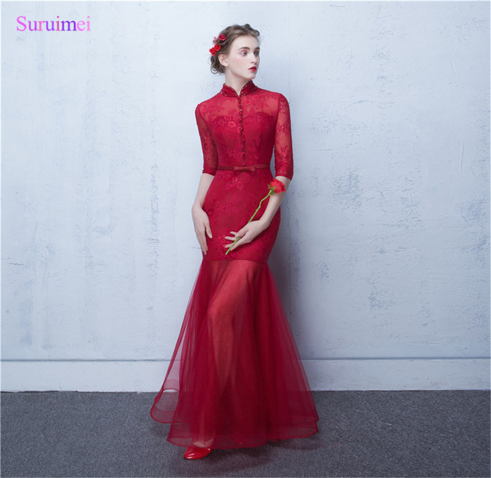 Sheer Illusion See Through Tulle Skirt O Neck Button Long Semi Formal   Prom   Gown Vintage Red   Prom     Dresses   with Sleeves