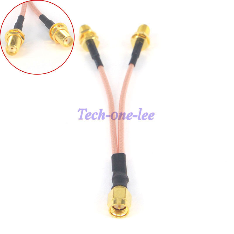 SMA Male To Y Type 2 SMA Female Connector Splitter Pigtail Cable RG316 10CM