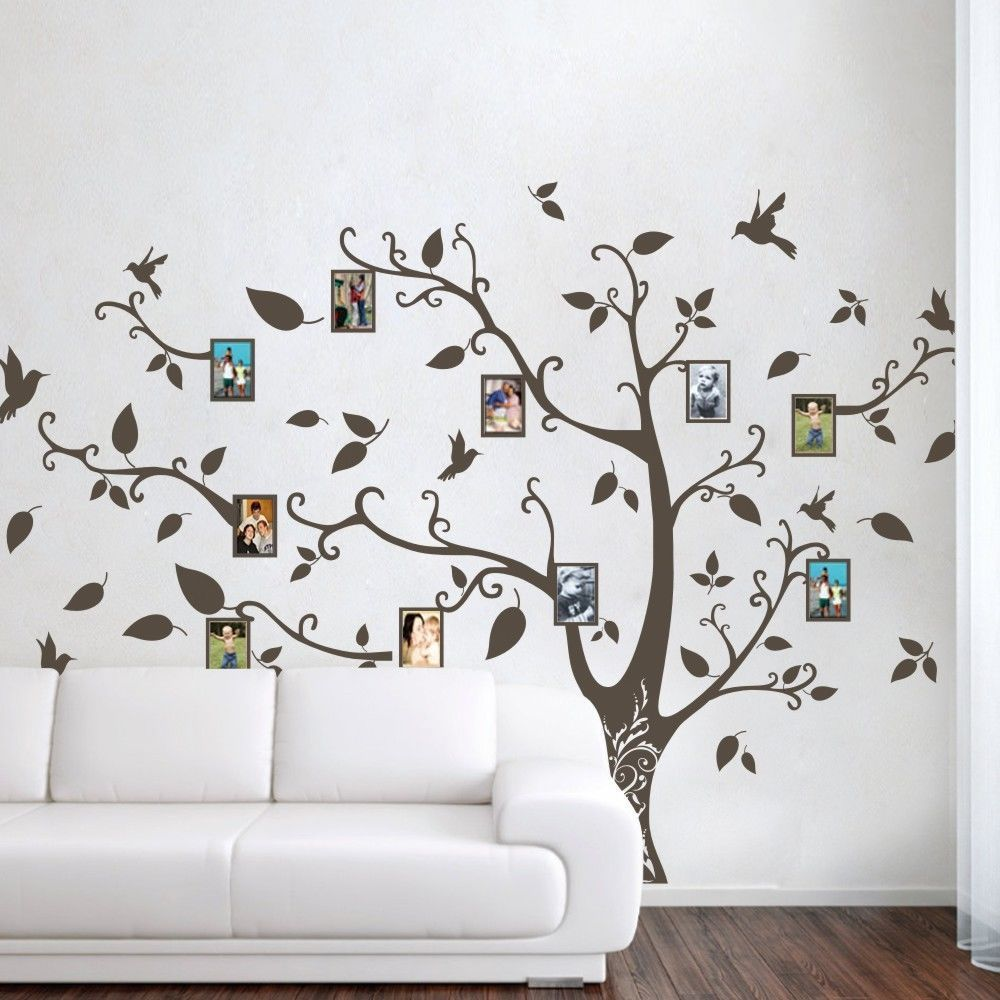 Picture frame family tree wall art tree decals trendy wall designs - Family Memory Of Tree Bird Wall Sticker Photo Frame Vinyl Removable Decor Large 96inx125in China