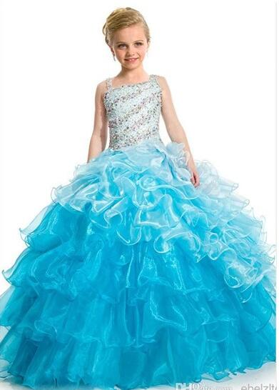 Princess Sleeveless Ball Gown Dress Birthday Party Dress Pageant  Wedding Flower Girl Dresses