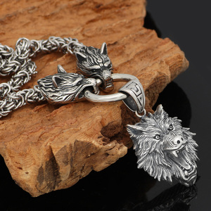 Image 4 - Nórdico viking odin lobo com cabeça de lobo geri e freki colar de aço inoxidável para homem rei corrente com saco de presente valknut