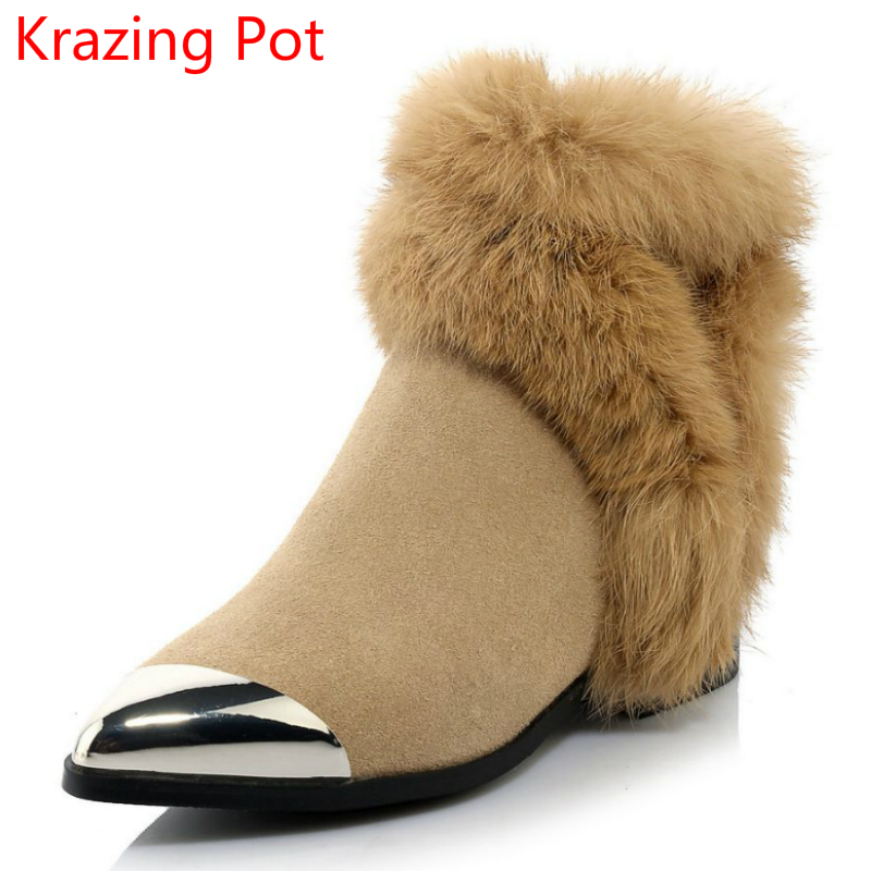 2018 Fashion Genuine Leather Thick Heels Runway Handmade Pointed Toe Winter Boots Superstar Keep Warm Ankle Boots for Women L2f3 fashion genuine leather chelsea boots handmade keep warm winter boots round toe thick heels concise ankle boots for women l08