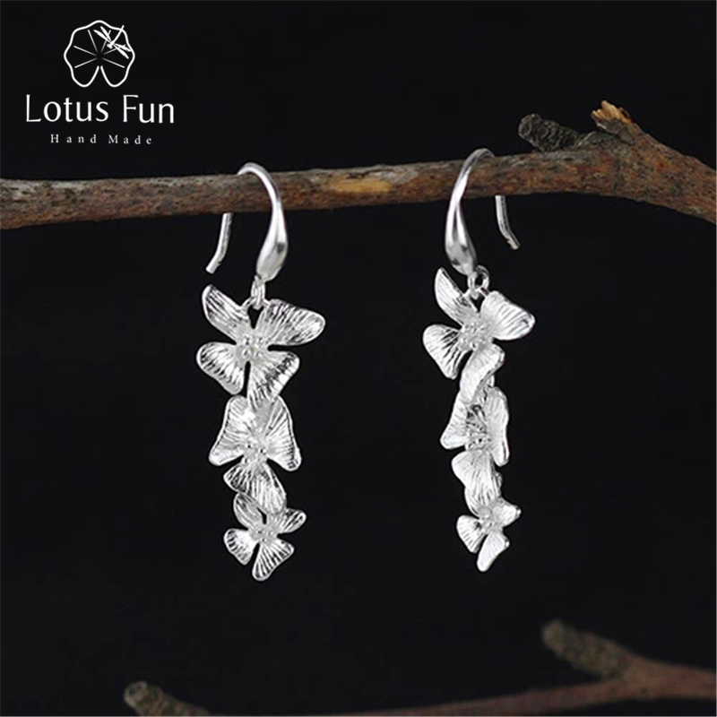 Lotus Fun Real 925 Sterling Silver Natural Creative Handmade Fine Jewelry Vintage Triple Flowers Drop Earrings For Women Brincos