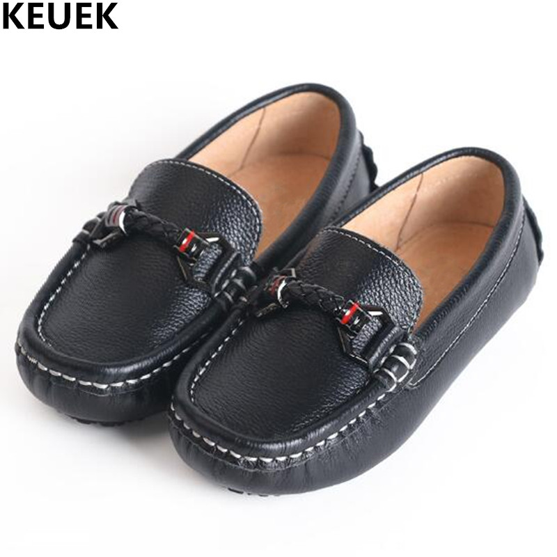 New Genuine Leather Shoes Children Loafers Black Moccasins Baby Toddler Flats Boys Student Kids Dress Casual Shoes 02 kelme 2016 new children sport running shoes football boots synthetic leather broken nail kids skid wearable shoes breathable 49