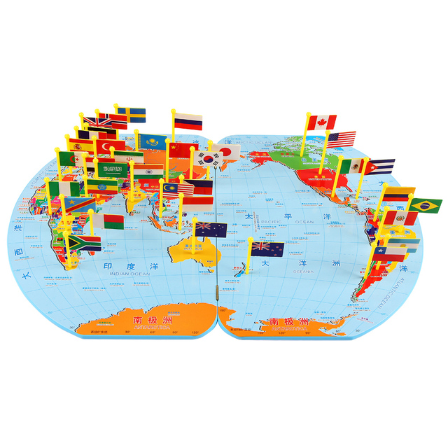 Children\'s Map Of The World New Arrival Early Children's Map Of The World Puzzle Jigsaw flag