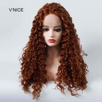 V'NICE Medium Auburn Kinky Curly Natural Hairline Synthetic Lace Front Wig 30# Color Heat Resistant Fiber Wigs for Black Women