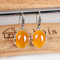 Vintage yellow chalcedony agate natural stone earrings 925-sterling-silver indian jewelry for women minimalist bohemian style