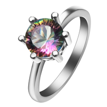 Rainbow Mystic Crystal Zircon silver color rings Wedding Engagement for Women Size 7 8 9 Fashion Wholesale Jewelry