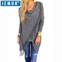 IEMUH Autumn Winter Woman Sweater Cardigans Tassel Large Solid Sweater For Women High Quality Sweater Women