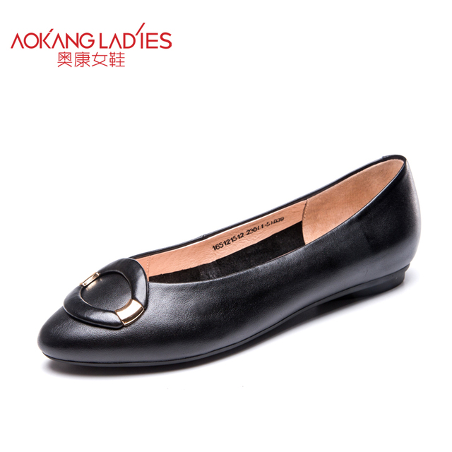 AOKANG 2016 autumn New Arrival lady shoes cow leather material round toe flats with sweet buckle for women slip-on female shoes