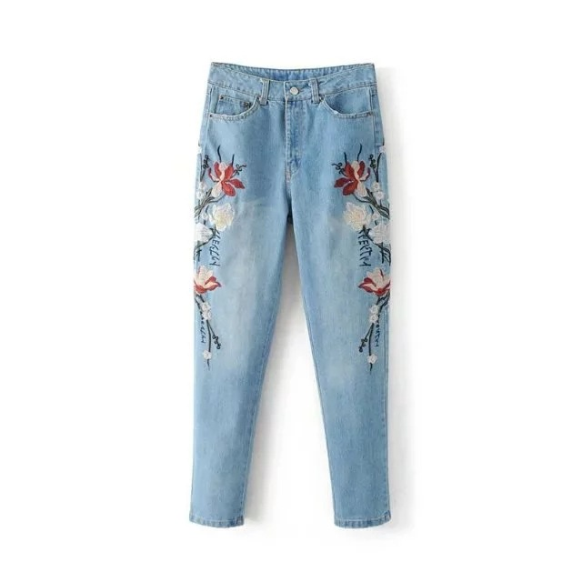 New Women Cotton Denim Jeans Flower Embroidered Washed Jeans Straight Loose Female Denim Jeans Pants Trousers new fashion suspender jeans overalls trousers denim female straight dark blue washed women pants jumpersuit rompers