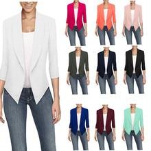 дешево!  Высокое качество блейзер женская верхняя одежда повседневная сплошной цвет укороченные рукава паль