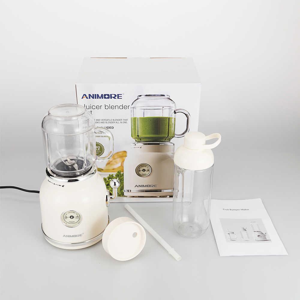 ANIMORE Portátil Espremedor de Frutas Liquidificador Elétrico Comida para Bebé Misturador Milkshake de Máquina do Fabricante De Suco de Moedor de Carne Multifuncional Retro
