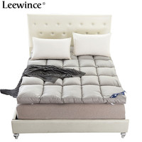 Leewince White Duck Down Goose Feather Filler Bed mattress Cotton Layers Mattress 10 cm feather mattress double foldable