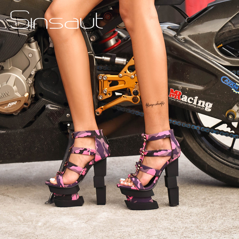 Sinsaut Summer Women Shoes High Heels Wedge Sandals Fuchsia Camouflage Bullet Decoration Sexy Punk Party Sandals-in High Heels from Shoes    1