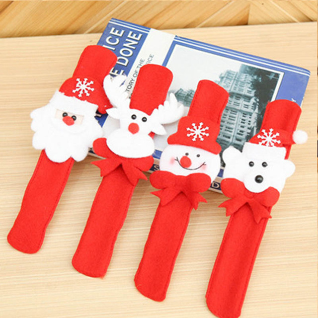 2Pcs Christmas Decorations Circle Bracelet Christmas Gift Santa Claus Snowman Deer New Year Party Children Toys